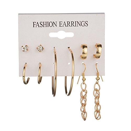 LiboboSets of 5 Pair Women Earrings Ear Ring Set Combination Pecial Circle ()