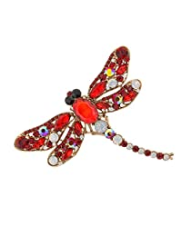 Fashion Rhinestone Dragonfly Crystal Wedding Bridal Alloy Pin Brooch Red