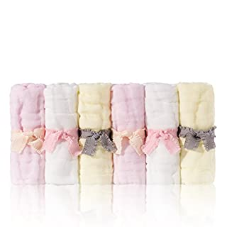 sense gnosis Baby Washcloths Natural Muslin Soft Hypoallergenic Absorbent Bath Washcloths Reusable Cotton Wipes for Newborn Babies 10x10 inch Baby Shower Face Towels Set of 6(White/Yellow/Pink)