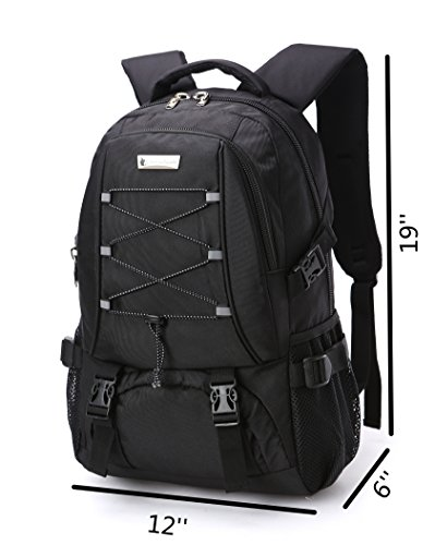 KOPD Outdoor Laptop Backpack Office Backpack Travel Computer Bag School Backpack fits 15.6 inch Laptop and Notebook to Working,School,Camping and Travel(Black) by KOPD (Image #6)