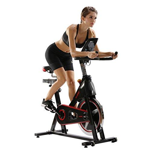 Crank Pro (Xspec Pro Stationary Upright Chain Drive Smart Exercise Cycling Bike, 40LB Flywheel Bicycle, Black, iBiking+, Heart Pulse Sensors, Adjustable Friction Resistance, 3-Piece Crank, 6-Function Monitor)
