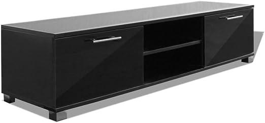 vidaXL Aparador para TV Alto Brillo Negro 120x40,3x34,7cm Armario ...