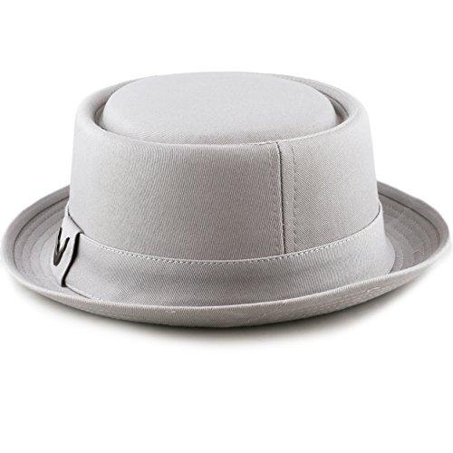 THE HAT DEPOT Black Horn Cotton Plain Pork Pie Hat (Large, Grey) by THE HAT DEPOT (Image #4)