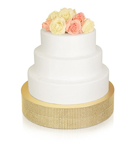Bling Wedding Cake Stand, Cupcake Base, Dessert Serving Plate/Centerpiece (16'' Round, Soft Gold)