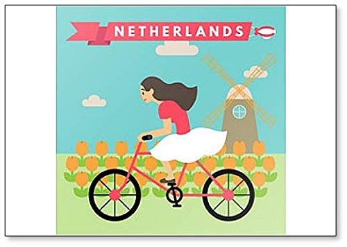 (Illustration Of Woman Riding Bicycle In Tulip Field Netherlands - Classic Fridge Magnet)