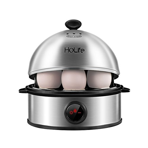 Egg Cooker, HoLife Stainless Steel Egg Boiler Steamer with Auto Shut off, 7 Egg Capacity for Soft, Medium, Hard Boiled Eggs, Omelettes