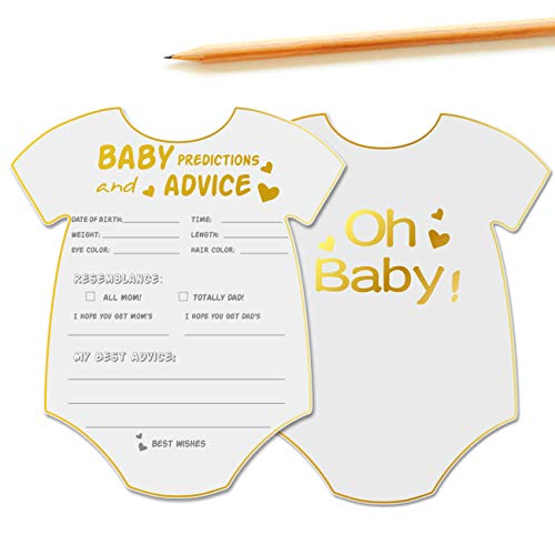 50 Advice and Prediction Cards for Baby Shower Game,Gender Neutral Boy or Girl,Fun Baby Shower Games Favors,New Parent Message Advice Book,New Mom & Dad Card or Mommy & Daddy To Be - 5x6inch -