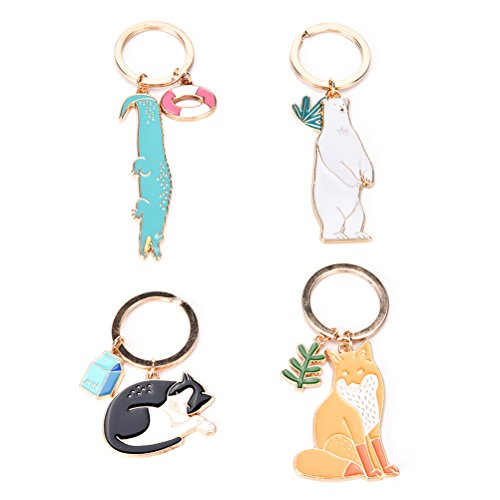 JUNKE 4 PCS Animal Shape Style Keychain Novelty Metal Enamel Cute Keyring Charmed Gifts for Kids Women Girls Boys