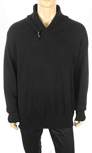 SEAN JOHN BIG & TALL SHAWL COLLAR BLACK COTTON PULLOVER SWEATER ...