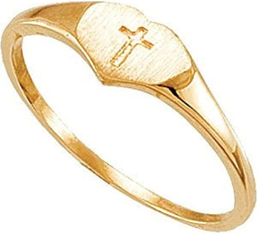 14k Yellow Gold Size 3 Girlss Heart and Cross 4.25mm Signet Ring