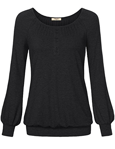 Casual Shirts for Women,Timeson Long Sleeve Round Neck Loose Fit Blouse Top Black Medium (Plain Black Corset)