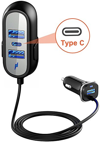 Price comparison product image Vproof USB C Car Charger, Type C Car Charger Adapter [Multi 4-Port] [5 FT Extension Cord] for Front/Back Seat Charging W Clip for iPhone X/8/7/6S Plus, Galaxy S9/S8, Google Pixel XL, Macbook (Black)