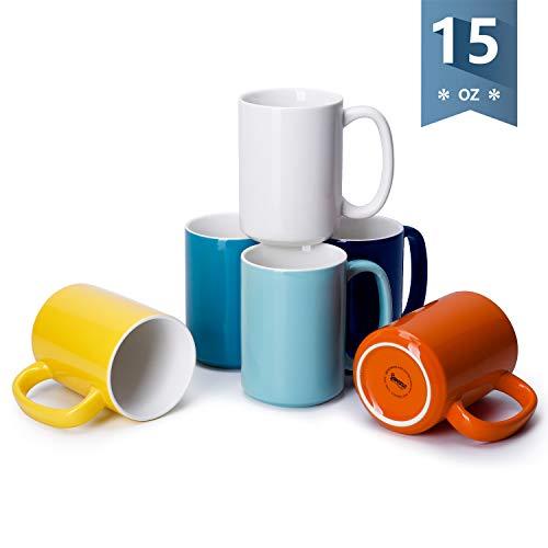 Sweese 608.002 Porcelain Mugs Set, 15 Ounce Large Handle Mugs, Set of 6, Hot Assorted colors
