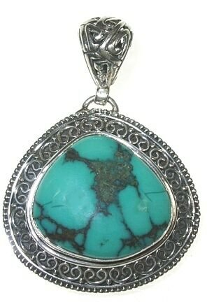 Freeform Turquoise and Sterling Silver Pendant (Freeform Bead Pendant Turquoise)