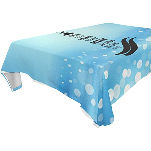 Marine Blue Pool Tablecloth (ZOEO 100% Fabric Polyester Tablecloth,Fresh Blue Marine Sea Lighthouse,Everyday Table Cover For Restaurant,Kitchen,& Picnic,60x60)