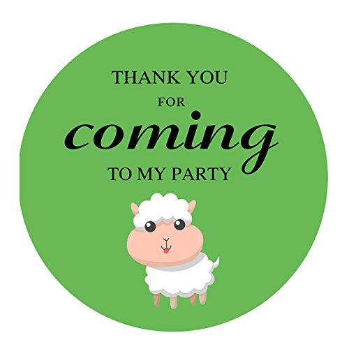 MAGJUCHE Green Little Sheep Thank You Stickers, Farm Animal Lamb Unisex Baby Shower or Birthday Sticker Labels, 2 Inch, 40-Pack by MAGJUCHE