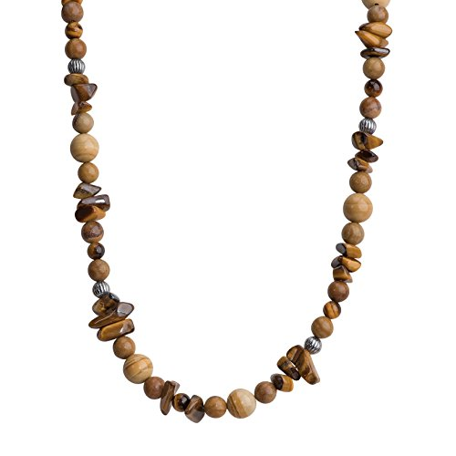 American West Jewelry Sterling Silver Shades of Brown Beaded Necklace, 16