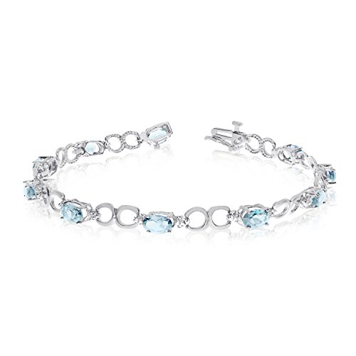 Diamond Open Link Tennis Bracelet (2.90 Carat (ctw) 10k White Gold Oval Aquamarine and Diamond Open Link Tennis Bracelet - 7