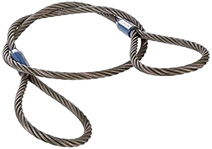ASC 04SM2608121F Carbon Wire Rope Sling, Eye and Eye, 6 x 19 IWRC, 3 ...
