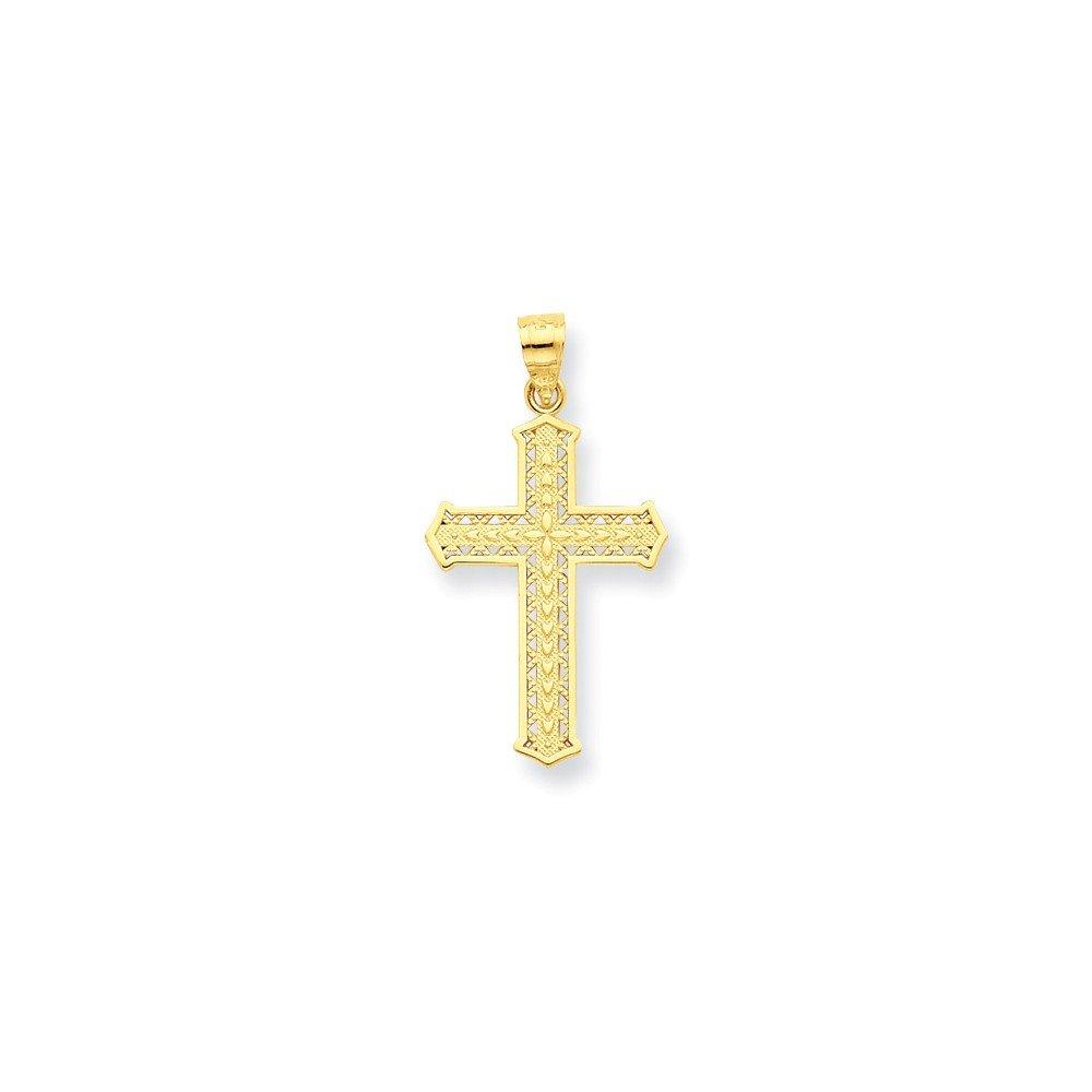 19mm 10K Anhänger Kreuz–Höhere Gold Goldgrad als 9Karat Gold JewelryWeb QTP345517NC