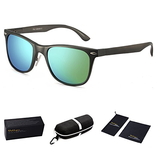 Dollger Polarized Wayfarer Sunglasses for Cycling Driving Fishing Superlight Metal Frame (Green Mirror Lens+Gun Frame)