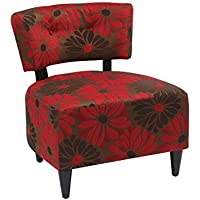 AVE SIX Boulevard Upholdered Accent Chair with Wood Legs, Groovy Red