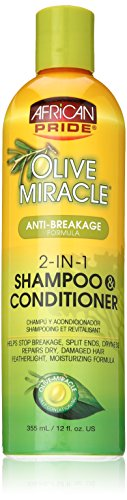 African Pride Olive Miracle 2-in-1 Shampoo and Conditioner, 12 Ounce - Anti Breakage Formula