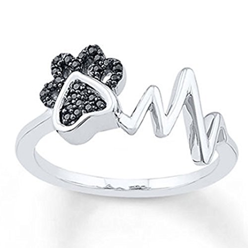 DreamJewels Paw & Heartbeat Ring 1/10 ct tw Black Simulated Diamond Ring 14k White Gold Finish Alloy ()