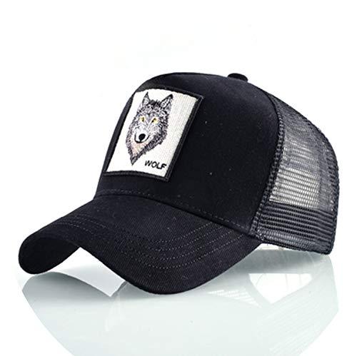 帽子 男性 夏の通気性メッシュ野球帽 女性 刺繍ヒップホップ カセットボーイズ,ブラック,56-60cm