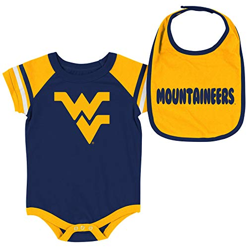 Colosseum NCAA Baby Short Sleeve Bodysuit and Bib 2-Pack-Newborn and Infant Sizes-West Virginia Mountaineers-0-3 Months
