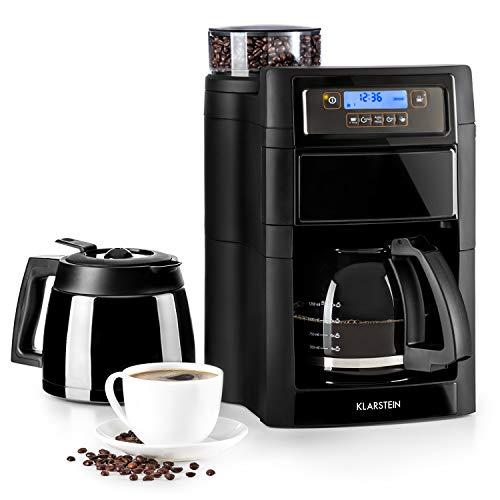 Klarstein Aromatica II Duo – Máquina de café con molinillo cónico, 5 niveles, Jarra de cristal 1,25 L, Temporizador 24h…