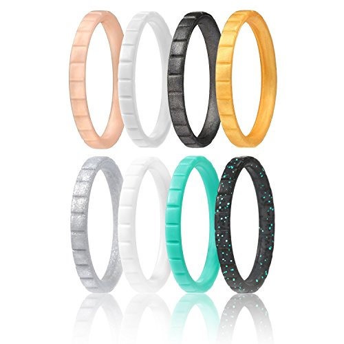 ROQ Silicone Wedding Ring for Women, Set of 8 Thin Stackable Silicone Rubber Wedding Bands Lines - Black, Turquoise, White, Silver, Rose Gold, Gold - Size 6