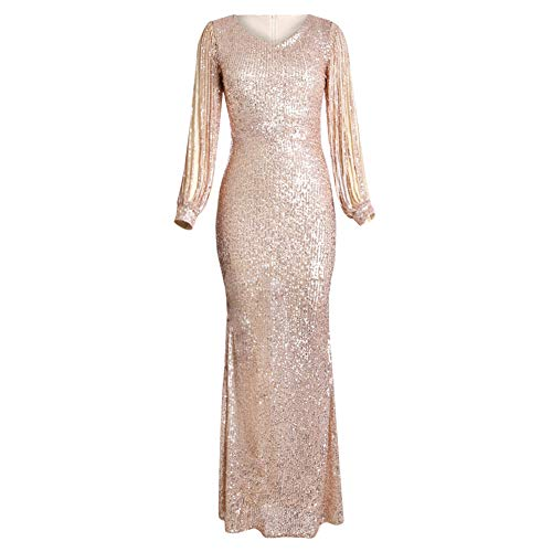 Elapsy Womens Elegant Sequined Tassel Long Sleeve Round Neck Fishtail Mermaid Evening Bandage Dress Cocktail Gown Apricot Medium