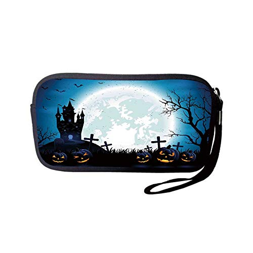 Neoprene Wristlet Wallet Bag,Coin Pouch,Halloween Decorations,Spooky Concept with Scary Icons Old Celtic Harvest Figures in Dark Image,Blue,for Women and Kids]()