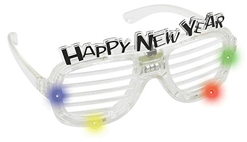 Sparkling New Year Light-Up Slotted Glasses Party Accessory , White, Plastic , 3