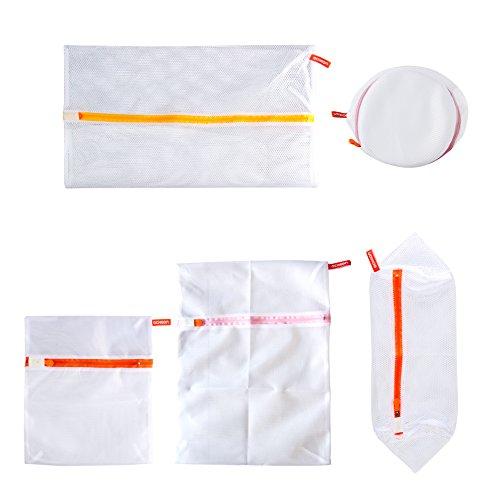 Acxeon Set von 5 Wäschenetz Wäschebeutel - Premium Qualität Zweischichtig Waschen Taschen, Wäsche Beutel für Bluse, Strumpfwaren, Strumpf, Unterwäsche, Büstenhalter und Unterwäsche, Travel Laundry Bag (Set von 5)