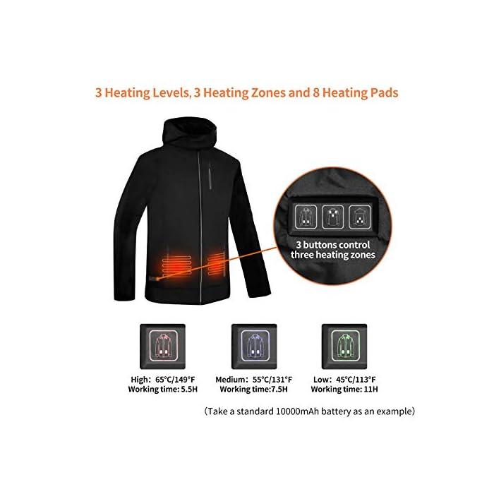*  La chaqueta térmica tiene 8 placas térmicas inteligentes, 3 calentadores de hombros + 3 calentadores de cintura + 2 calentadores abdominales. La temperatura de cada zona se puede controlar de forma independiente. La placa calefactora está hecha de material de fibra nanocompuesto, que tiene una alta tasa de conversión de energía térmica, buena tenacidad y una larga vida útil. * La chaqueta calefactora tiene tres modos de calefacción: alto , medio , bajo . El puerto USB de doble cara es compatible con la mayoría de los bancos de energía. POR FAVOR UTILICE la salida de 5V / 2.4A o POR ENCIMA del banco de energía, la batería de BAJO POTENCIA puede no iniciar el sistema de calefacción. (NOTA: Banco de energía no incluido) * La chaqueta térmica está diseñada con un tejido de poliéster compacto y una cremallera impermeable. Después del tratamiento hidrofóbico, el agua no es fácil de adherir, lo que puede evitar lluvias ligeras y nieve. El interior es una tela de malla de diamante, que puede mejorar la resistencia al desgarro de la capa interior y es más duradera.