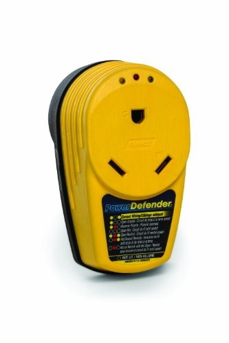 Camco PowerDefender Circuit Analyzer With Integrated Surge Protection and Indicator Lights, 30 Amp Male to 30 Amp Female ()