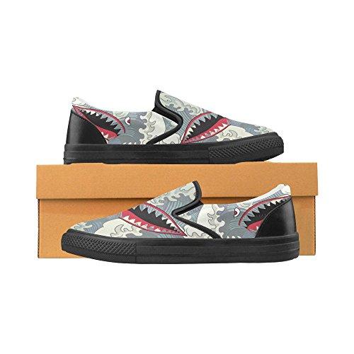 D-histoire Custom Sneaker Requin Dents Fleurs De Cerisier Dans Le Ciel Womens Inhabituelle Slip-on Chaussures De Toile Requin4