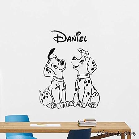 jiushivr Nombre Personalizado dálmata Tatuajes de Pared Mascotas Perro Vinilo Personalizado Cachorro Personalizado Decoración de Pared Animales Arte Mural 63x81cm