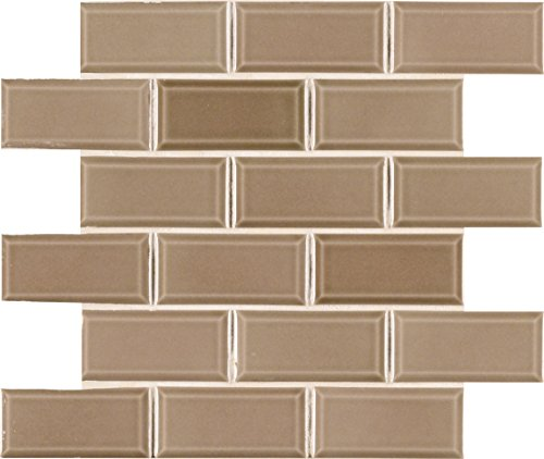 MS International AMZ-MD-00211 Taupe Beveled Tile 11.22 in. x 11.47 in. in, 15 Piece