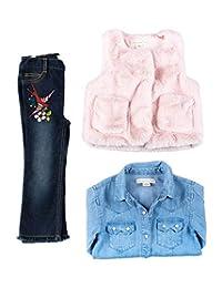 Kinderkind Kids Toddler Girl Fur Vest, Chambray Shirt and Denim Pants Set