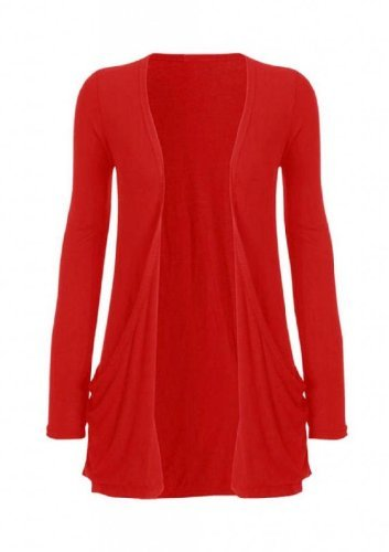 Hot Hanger Ladies Plus Size Pocket Long Sleeve Cardigan 16-26 (24-26 XXXL, Red)