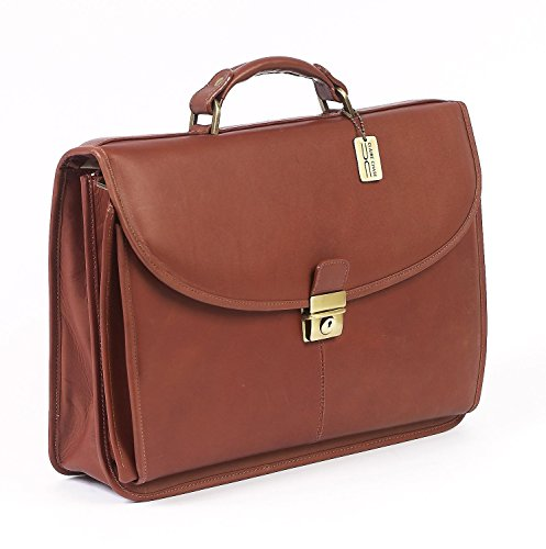 (Claire Chase Manhattan Laptop Leather Lawyers Briefcase in Saddle )
