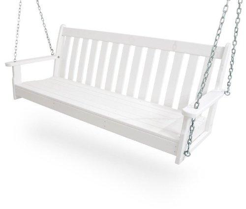 CASA BRUNO Original Porch Swing Hängeschaukel / Gartenschaukel aus recyceltem Polywood® HDPE Kunststoff, weiss - kompromisslos wetterfest