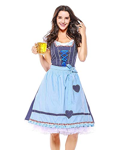 Women German Bavarian Costume Oktoberfest Beer Girl Dress Carnival Halloween (Large, Purple/Blue) -