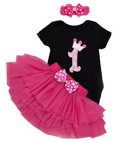 Birthday Party Outfit (BabyPreg Baby Girls 1st Birthday Tutu with Headband Set (XL(12-18) months), Black))