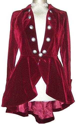 [Red Elegant Velour Gothic Steampunk Victorian Regency Style Jacket Size 14-16] (Victorian Era Womens Costumes)