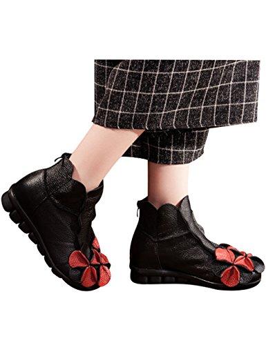 Zoulee Womens Round Toe Back Zipper Leather Flower Shoes Black Fleece 1 IvSI18O1