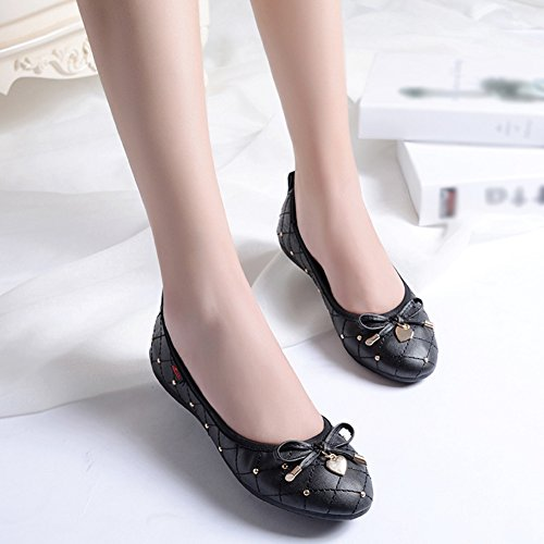 T Slip JULY Black Knot Women's Foldable Ballet Flats Cassual Shoes On Bow 7IIrqw